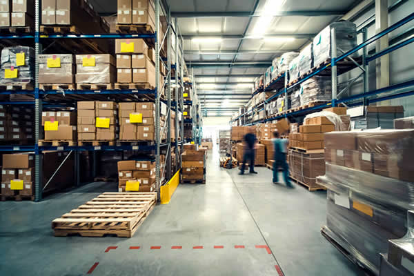 palettes posées au sol, étagères avec des cartons de produits achetés chez les concurrents et destockés auprès d'un soldeur