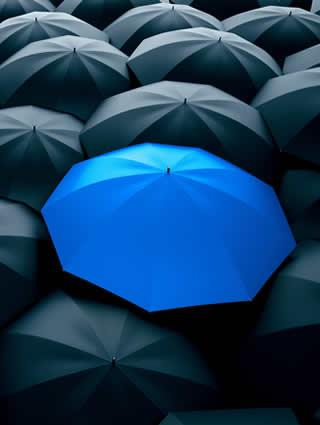 parapluie pour illustrer le concept d'être visible et d'avoir la meilleure place dans les linéaires et les rayons de grande surface